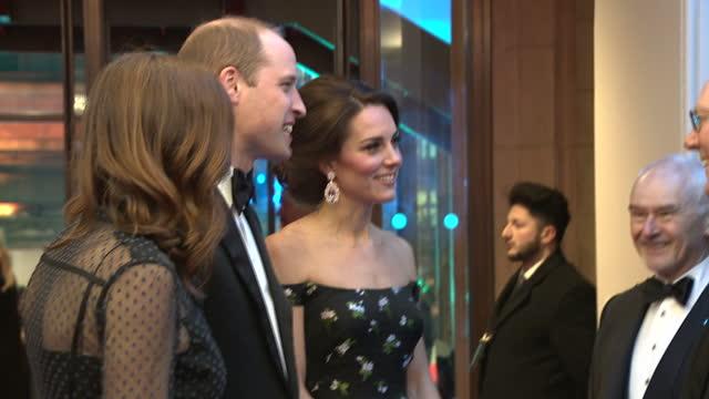 interior shots of prince william and catherine duchess of cambridge meeting various bafta officials - 英国アカデミー映画賞点の映像素材/bロール