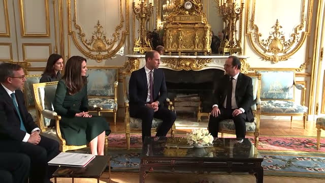 interior shots of prince william and catherine duchess of cambridge sat talking to president francois holland on a visit to the elysee palace on 17... - françois hollande stock videos & royalty-free footage