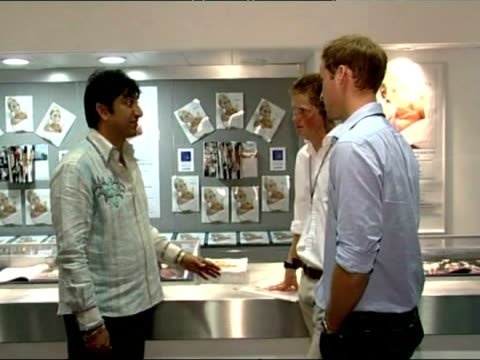 interior shots of prince william and harry speaking to concert promoter and viewing the concert programme. exterior shots of prince william and harry... - entertainment occupation stock videos & royalty-free footage