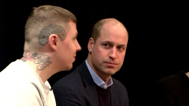 Interior shots of Prince William and Professor Green taking part in a special assembly at Burlington Academy hosted by YouTuber Dan Howell for...