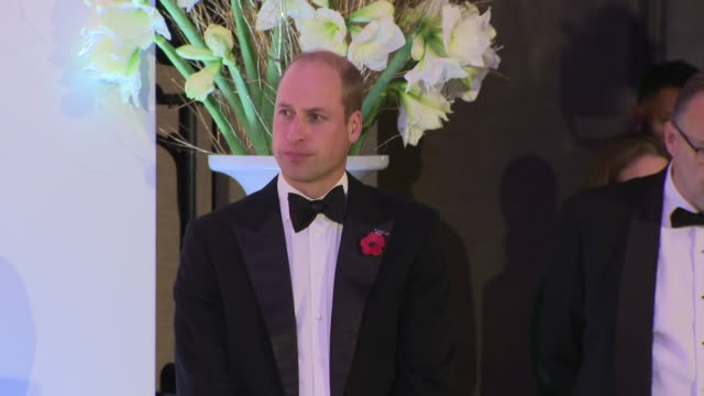 interior shots of prince william at the london air ambulance 30th anniversary and his speech at the event speaking about the important work the... - britisches königshaus stock-videos und b-roll-filmmaterial