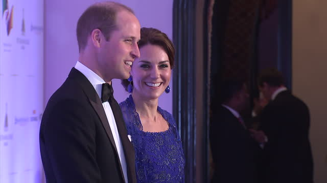 interior shots of prince william & catherine, duke & duchess of cambridge on the red carpet posing for paparazzi at a bollywood inspired charity gala... - gala stock videos & royalty-free footage