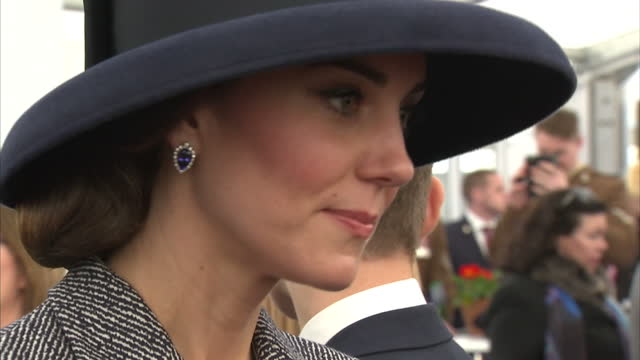 interior shots of prince william catherine duke duchess of cambridge meeting veterans and british armed forces at a reception following the unveiling... - memorial event stock videos and b-roll footage