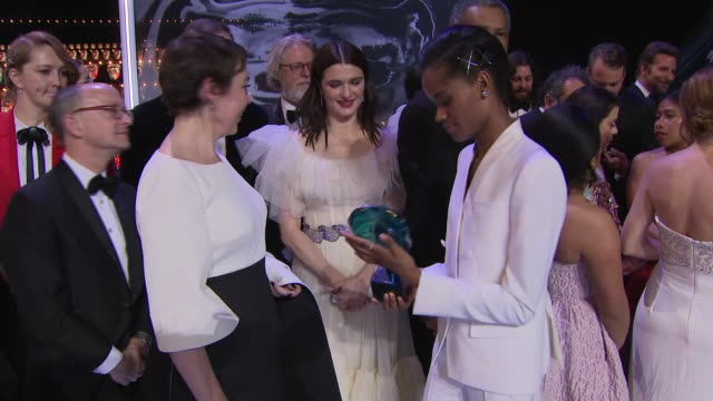 interior shots of prince william duke of cambridge and catherine duchess of cambridge meeting various celebrities following the bafta ceremony... - letitia wright stock videos and b-roll footage