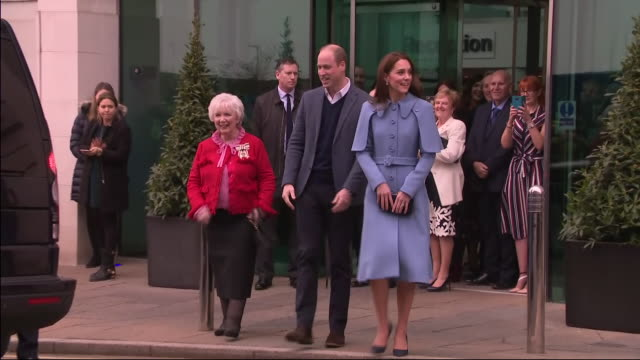 interior shots of prince william duke of cambridge and catherine duchess of cambridge departing from cinemagic at the braid arts centre on 28th... - duchess of cambridge stock videos and b-roll footage