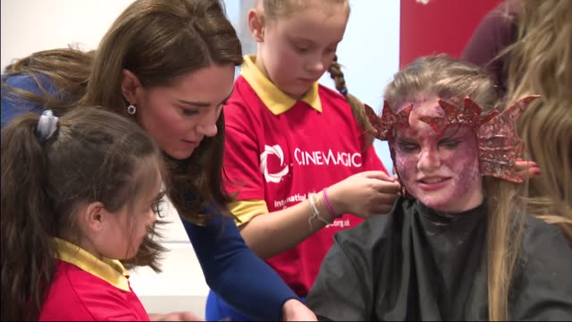 interior shots of prince william duke of cambridge and catherine duchess of cambridge during their visit at cinemagic at the braid arts centre on... - duchess of cambridge stock videos and b-roll footage
