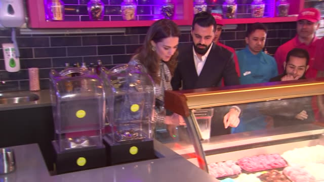 interior shots of prince william, duke of cambridge and catherine, duchess of cambridge help making milkshakes at the mylahore restaurant on 15th... - smoothie stock videos & royalty-free footage