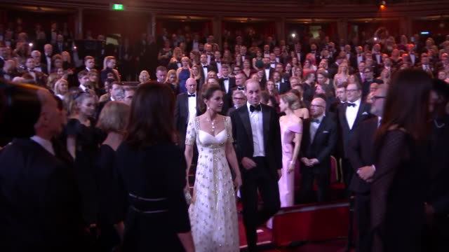 interior shots of prince william duke of cambridge and catherine duchess of cambridge taking their seats at the baftas awards on 2nd february 2020 in... - british academy film awards stock videos & royalty-free footage