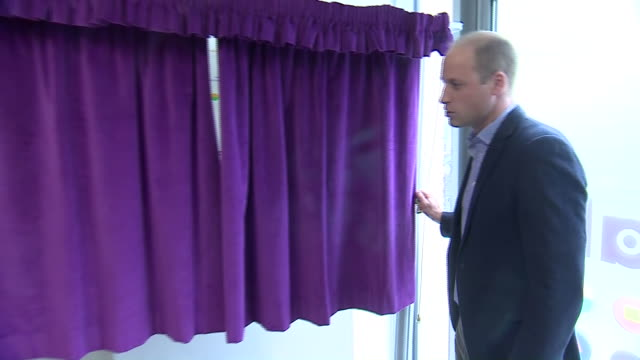 interior shots of prince william, duke of cambridge and chief executive officer tim sigsworth unveiling a plaque and recieving a gift bag during a... - youth organisation stock videos & royalty-free footage