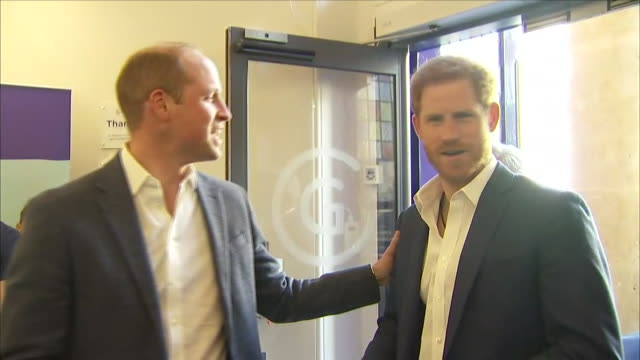interior shots of prince william duke of cambridge and prince harry arriving for opening of the greenhouse centre greenhouse sports and prince... - prince harry stock videos and b-roll footage