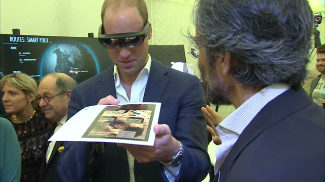 interior shots of prince william duke of cambridge arriving at the london 2016 founders forum trying on 3d virtual reality glasses and chatting to... - 3d glasses stock videos & royalty-free footage