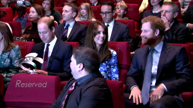 Interior shots of Prince William Duke of Cambridge Catherine Duchess of Cambridge and Prince Harry arriving at BAFTA Headquarters on October 26 2015...