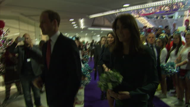 Interior shots of Prince William Duke of Cambridge Catherine Duchess of Cambridge greeting people on arrival to ICAP offices on ICAP Charity Day...