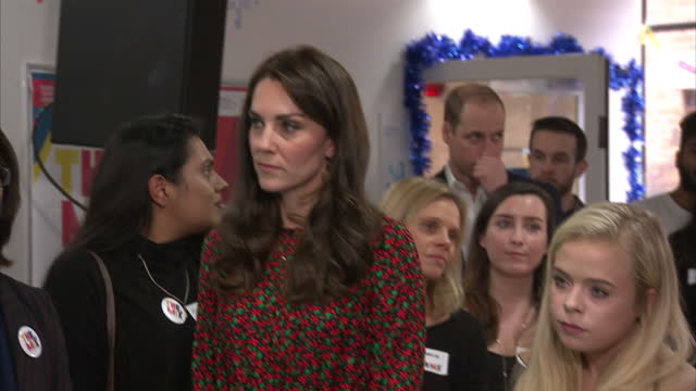 interior shots of prince william, duke of cambridge, catherine, duchess of cambridge and prince harry listening to charity volunteer give speech on... - annual general meeting stock videos & royalty-free footage