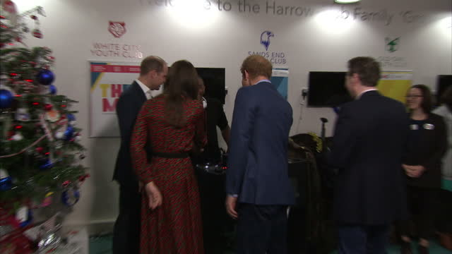 interior shots of prince william, duke of cambridge, catherine, duchess of cambridge and prince harry shake hands with people as they depart the... - annual general meeting stock videos & royalty-free footage