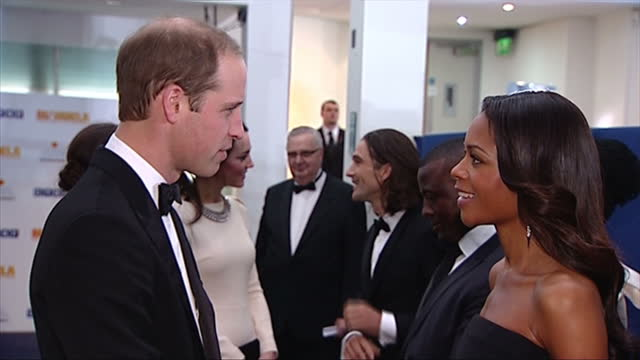 Interior shots of Prince William Duke of Cambridge meeting actress Naomie Harries at the London premiere of 'Mandela Long Walk to Freedom' Duke and...