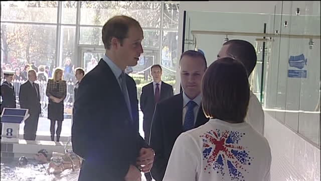 interior shots of prince william duke of cambridge meeting officials young swimmers and diana award recipients at haven point leisure centre in south... - south shields stock videos & royalty-free footage