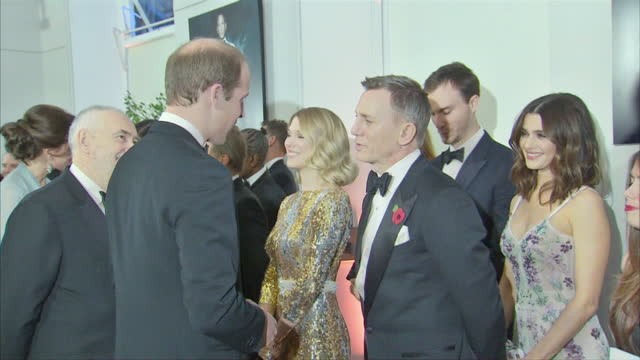 Interior shots of Prince William Duke of Cambridge speaking to Daniel Craig at the Royal World Premiere of 'Spectre' at Royal Albert Hall on October...