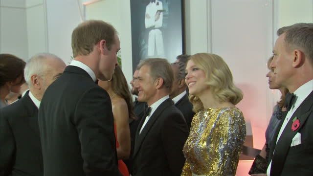 Interior shots of Prince William Duke of Cambridge speaking to Lea Seydoux at the Royal World Premiere of 'Spectre' at Royal Albert Hall on October...