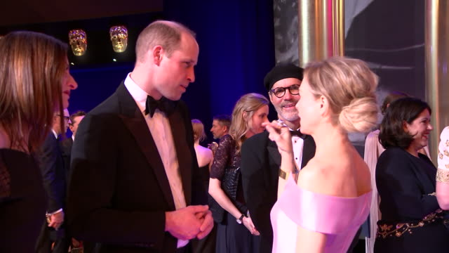 interior shots of prince william duke of cambridge talking to renée zellweger at the baftas awards on 2nd february 2020 in london england - renée zellweger stock videos & royalty-free footage