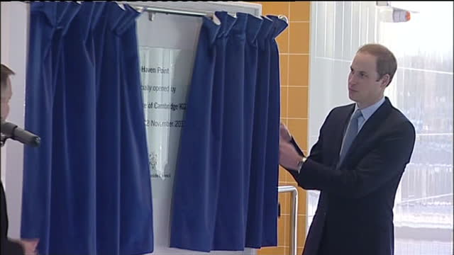 interior shots of prince william duke of cambridge unveiling a commemorative plaque to officially open haven point leisure centre prince william... - south shields stock videos & royalty-free footage
