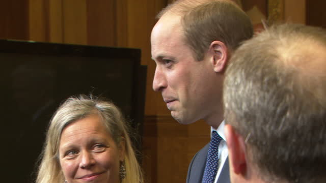 interior shots of prince william meeting bbc staff and speaking to runners who took part in the mind over marathon documentary before attending a... - attending stock videos and b-roll footage