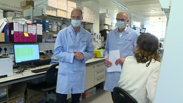 GBR: Prince William visits Oxford coronavirus vaccine trial team