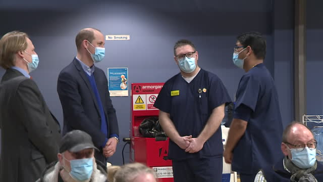 GBR: Prince William visits a coronavirus vaccination centre in Kings Lynn
