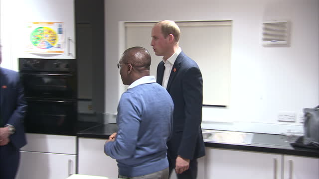 Interior shots of Prince William meeting staff and volunteers at the Centrepoint centre for family bereavement on January 11 2017 in London England