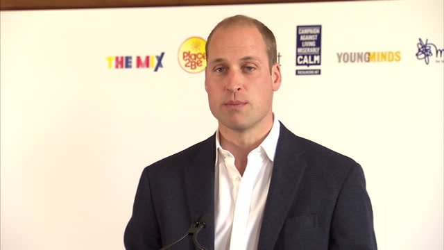Interior shots of Prince William speaking at a Heads Together reception on Wolrd Mental Health Day talking about the importance of talking about...