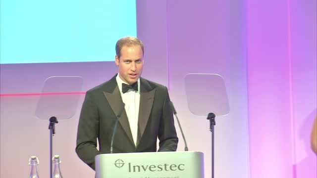 Interior shots of Prince William speaking at the Tusk Trust awards at the Royal Society Prince William Speaks at the Tusk Trust Awards at The Royal...