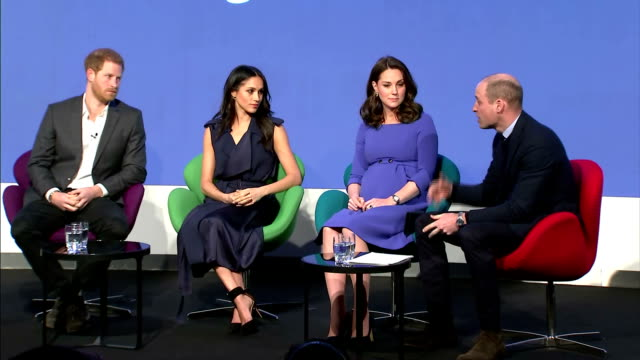 vídeos de stock, filmes e b-roll de interior shots of prince william speaking during the first annual royal foundation forum seated alongside catherine duchess of cambridge meghan... - realeza