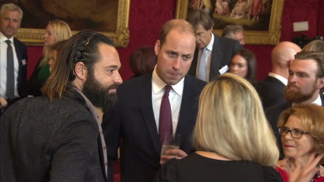 Interior shots of Prince William speaking to guests at a reception for the Heads Together charity at St James Palace on 10th October 2017 London...