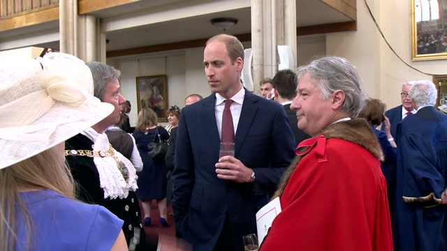Interior shots of Prince William speaking to guests during a reception at The Guildhall>> on June 10 2016 in London England