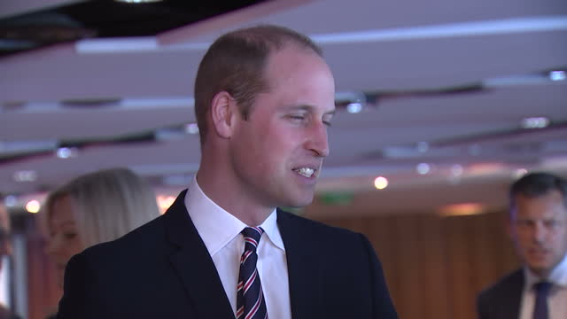 interior shots of prince william speaking to officials and guests at a reception to celebrate his 10th anniversary as president of the football... - football association stock videos & royalty-free footage