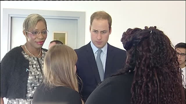 interior shots of prince william speaking to officials and meeting young people at a workshop during a diana award inspire training day at haven... - south shields stock videos & royalty-free footage