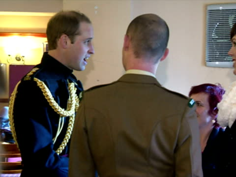 interior shots of prince william speaking with soldiers of the first battalion irish guards and their families at mons barracks, aldershot. prince... - aldershot stock videos & royalty-free footage