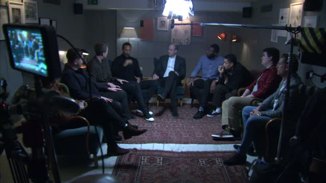 Interior shots of Prince William taking part in a discussion with Rio Ferdinand and other campaigners as part of the Best Man Project during a visit...