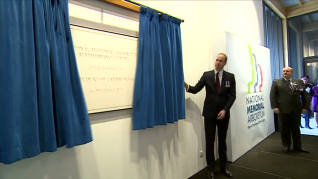 interior shots of prince william unveiling a plaque in the new remembrance centre at the national memorial arboretum on 29 march 2017 in lichfield... - memorial plaque stock videos and b-roll footage