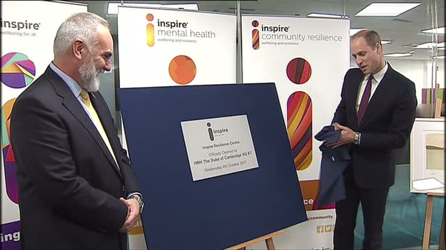 Interior shots of Prince William unveiling a plaque to commemorate the official opening of the Inspire Resilience Centre on October 04 2017 in...