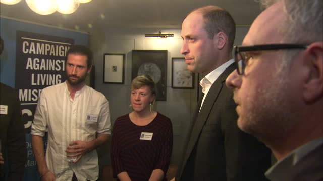 Interior shots of Prince William visiting the Campaign against Living Miserably mental health charity and meeting with staff and volunteers on...