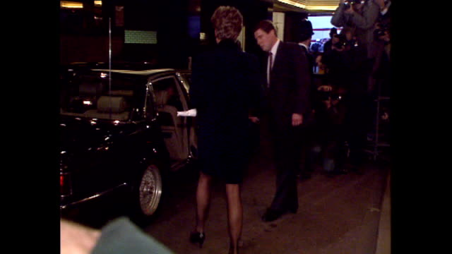 interior shots of princess diana departing park lane hilton after her announcement of withdrawing from public life with lots of flash photography on... - paparazzi photographer stock videos & royalty-free footage