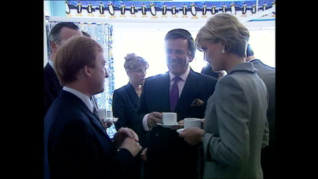 interior shots of princess diana drinking tea and talking to terry wogan and nicholas witchell on her visit to a paediatric ward in st mary's... - terry wogan video stock e b–roll