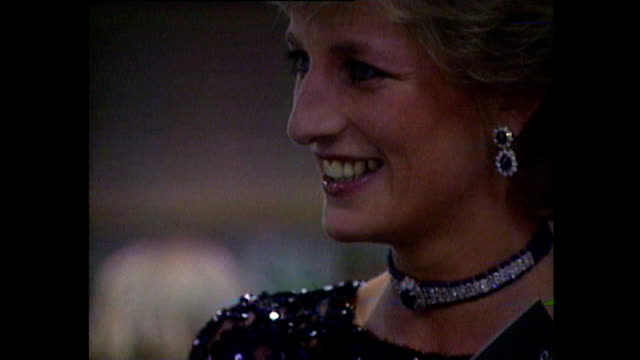 interior shots of princess diana meeting pavarotti and other performers before a concert of hope for childrens' hospice in wales charity performance... - cardiff wales stock videos & royalty-free footage
