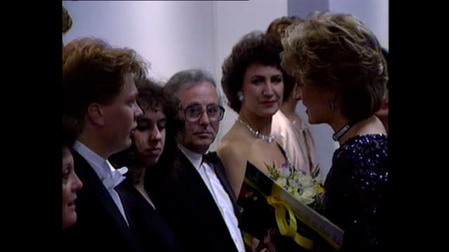 interior shots of princess diana meeting pavarotti before a concert of hope for childrens' hospice in wales charity performance on 3 june 1995 in... - luciano pavarotti stock videos & royalty-free footage