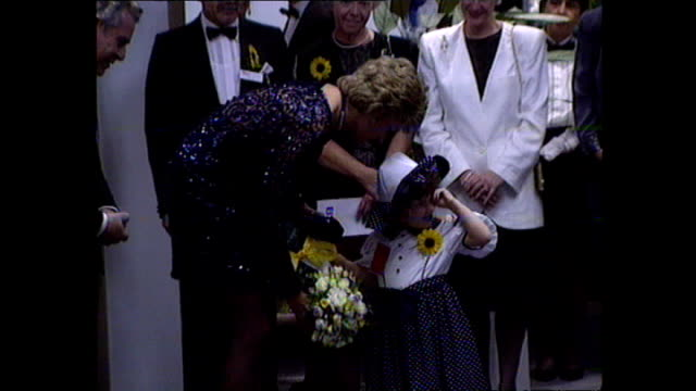 interior shots of princess diana meeting performers before a concert of hope for childrens' hospice in wales charity concert on 3 june 1995 in... - luciano pavarotti stock videos & royalty-free footage