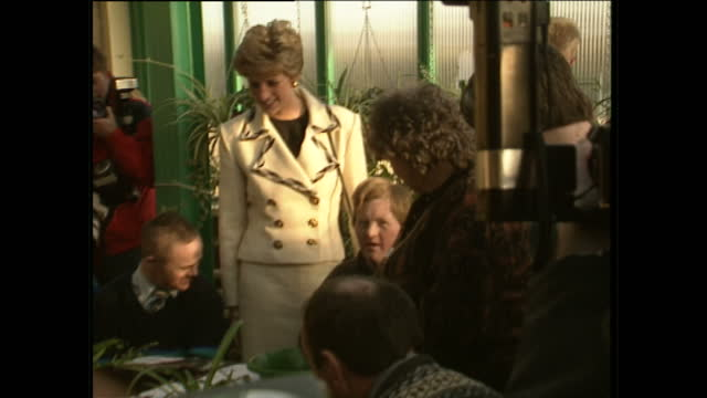 interior shots of princess diana meeting young people and staff at barnardos centre on november 19 1991 in armagh northern ireland - disability icon stock videos & royalty-free footage