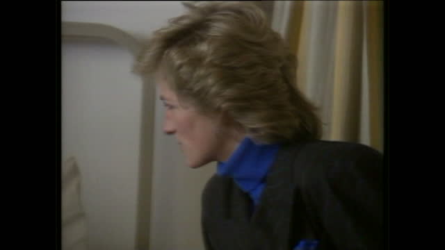 interior shots of princess diana prince charles speaking with a patient at northern general hospital whilst visiting injured survivors of the fa cup... - charity benefit stock videos & royalty-free footage
