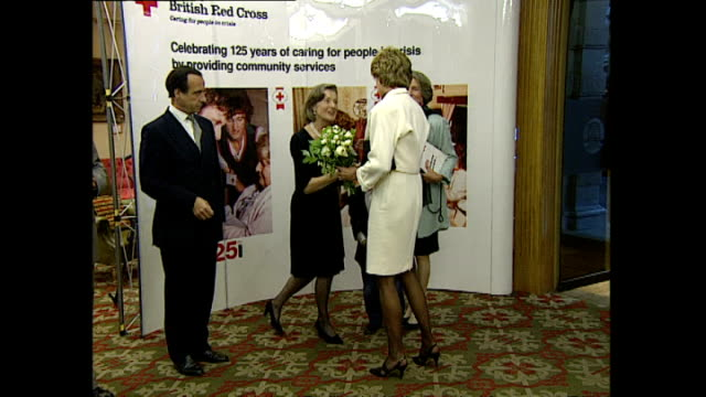 Interior shots of Princess Diana Princess of Wales arriving at Christie's for the Red Cross book 'Freedom' book launch on 24 May 1995 London England