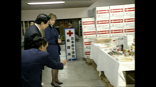 interior shots of princess diana, princess of wales, arriving at the red cross headquarters during royal tour on 8 february 1995, tokyo, japan. - japan stock videos & royalty-free footage